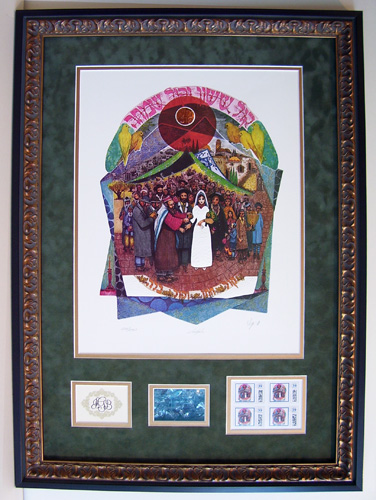 "Amram Ebgi's ""Chupah"" Framed with wedding monogram, broken glass & custom Ebgi stamps"