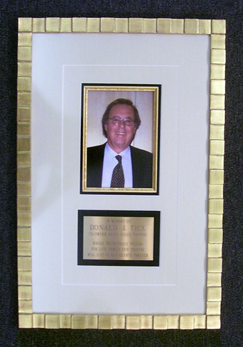 Photo with gold fillet & Brass Engraved Plate framed in 14k Gold Leaf Hand Carved Frame
