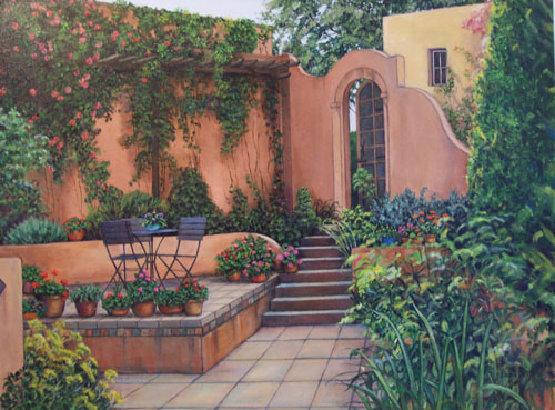 Adobe Patio Small on Canvas