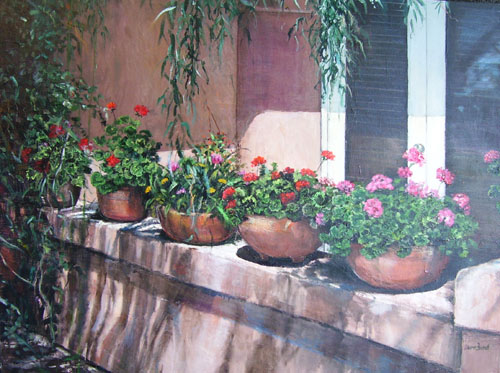 Geraniums on the Wall