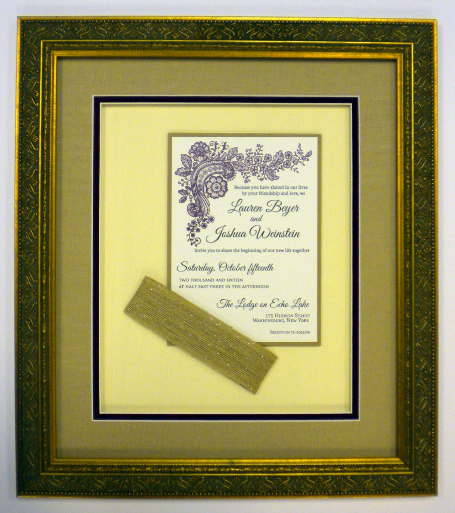 Wedding Invite with ribbon FRAMED